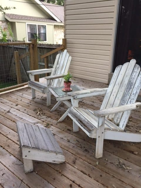 weathered Adirondack outdoor furniture