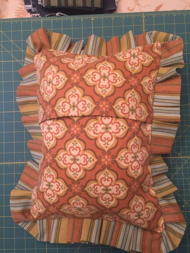 Finished pillow cover (back view) with envelope closure