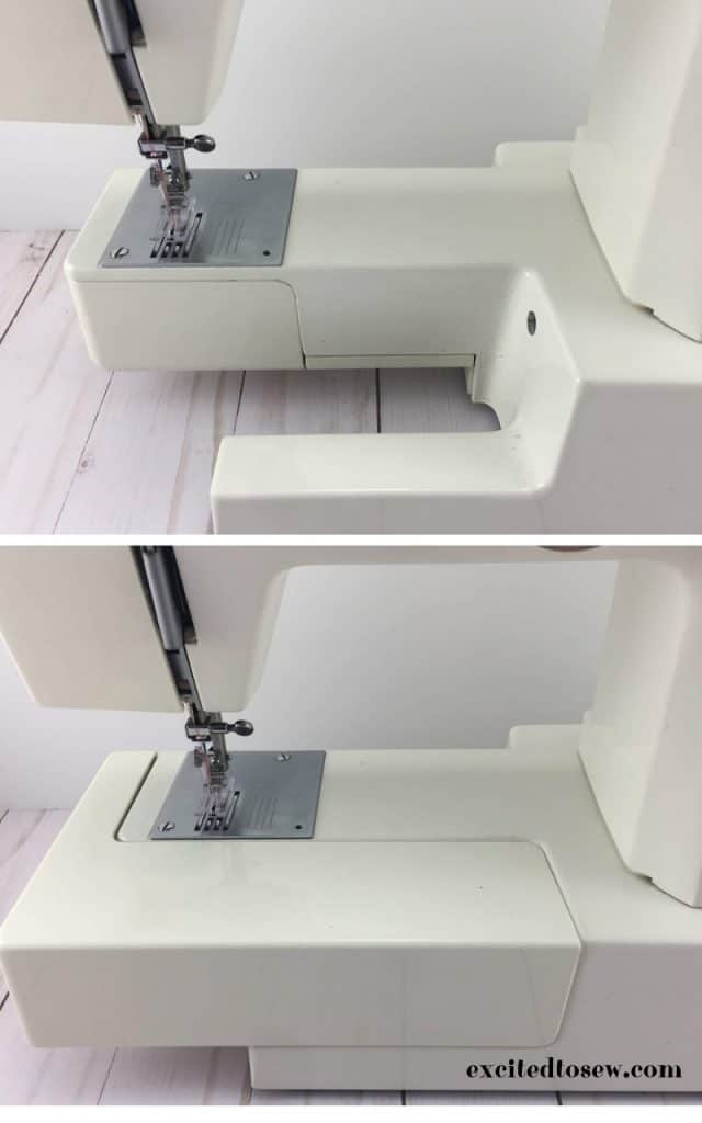 Free arm and accessory box on a sewing machine