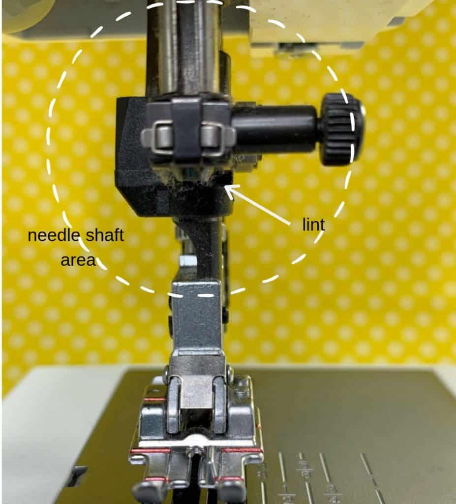 lint build up on needle shaft