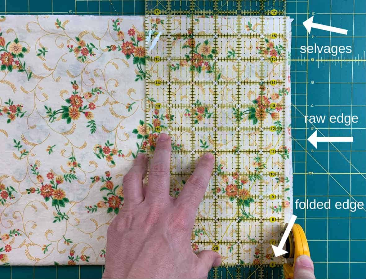 use rotary tools to square fabric