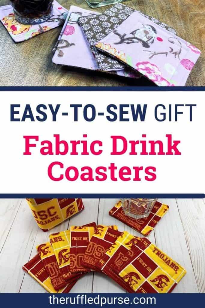 Pinterest image of fabric drink coasters