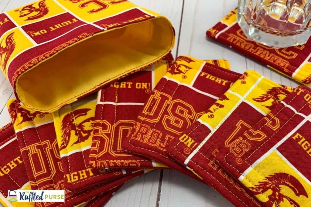 University of Southern California fabric drink coasters with coordinating bag