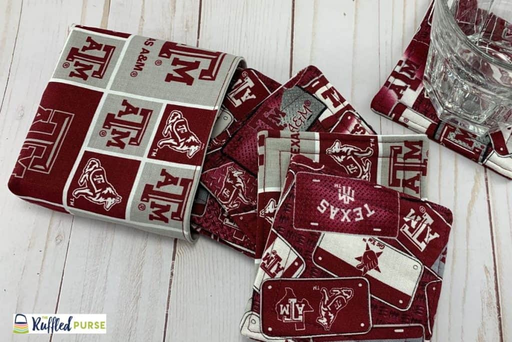 Texas A & M fabric drink coasters with coordinating bag