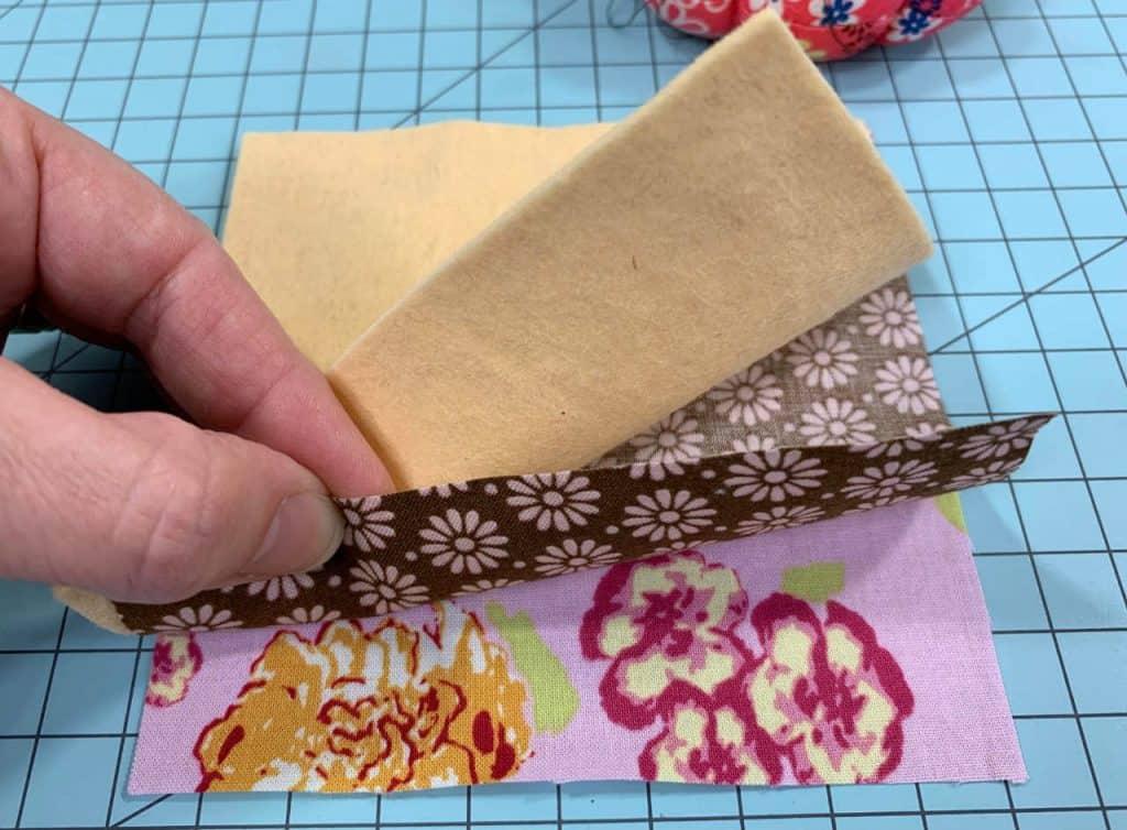 layer the three fabrics