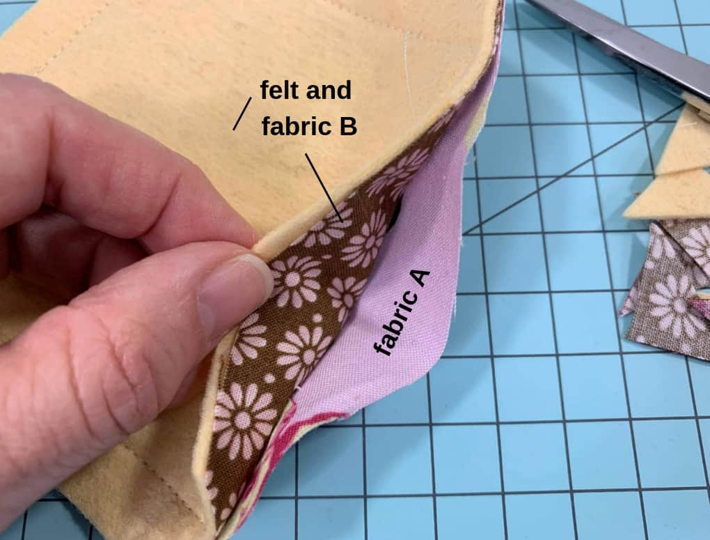 Separate fabric A from fabric B and the felt. Turn so right sides are out.