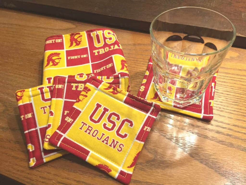 drink coasters made out of sports fabric