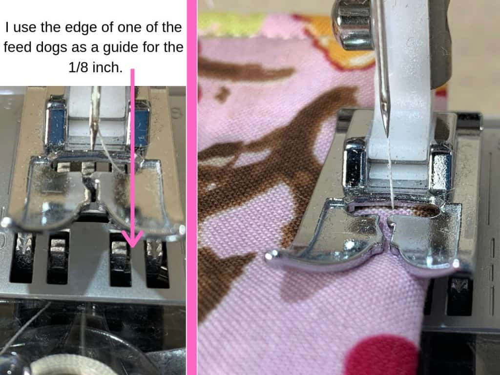 use feed dogs as a guide for a small seam allowance