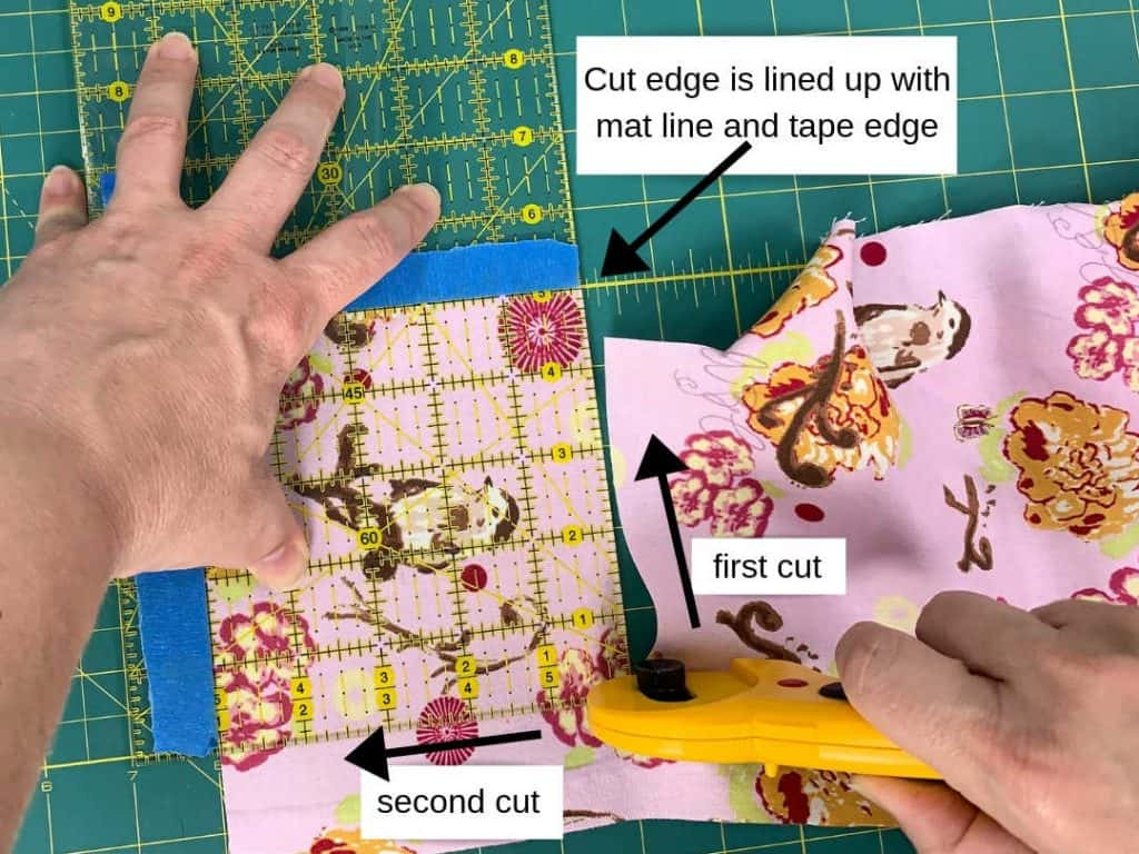 rotate, align, and cut the next two edges