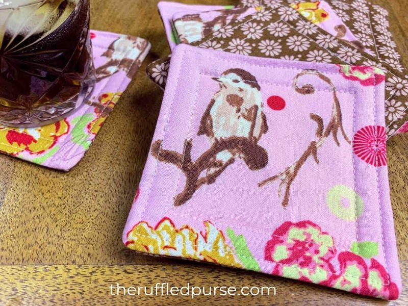 Sew fabric drink coasters to practice basic sewing skills
