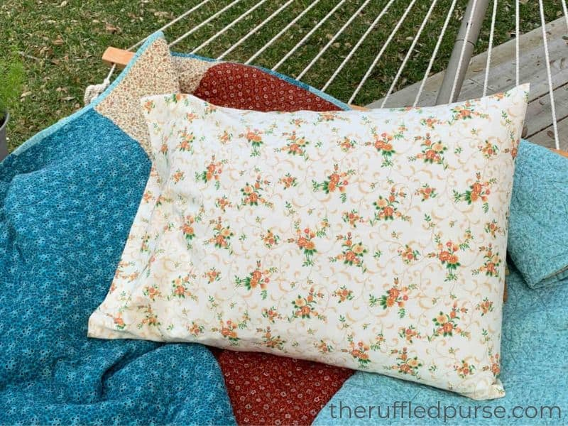A simple pillowcase is sewing project for beginner sewists.