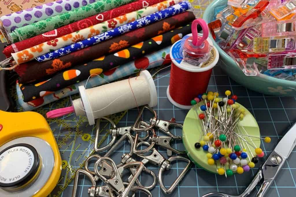 Supplies to sew lanyards