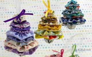 Ornaments made from fabric yo-yos
