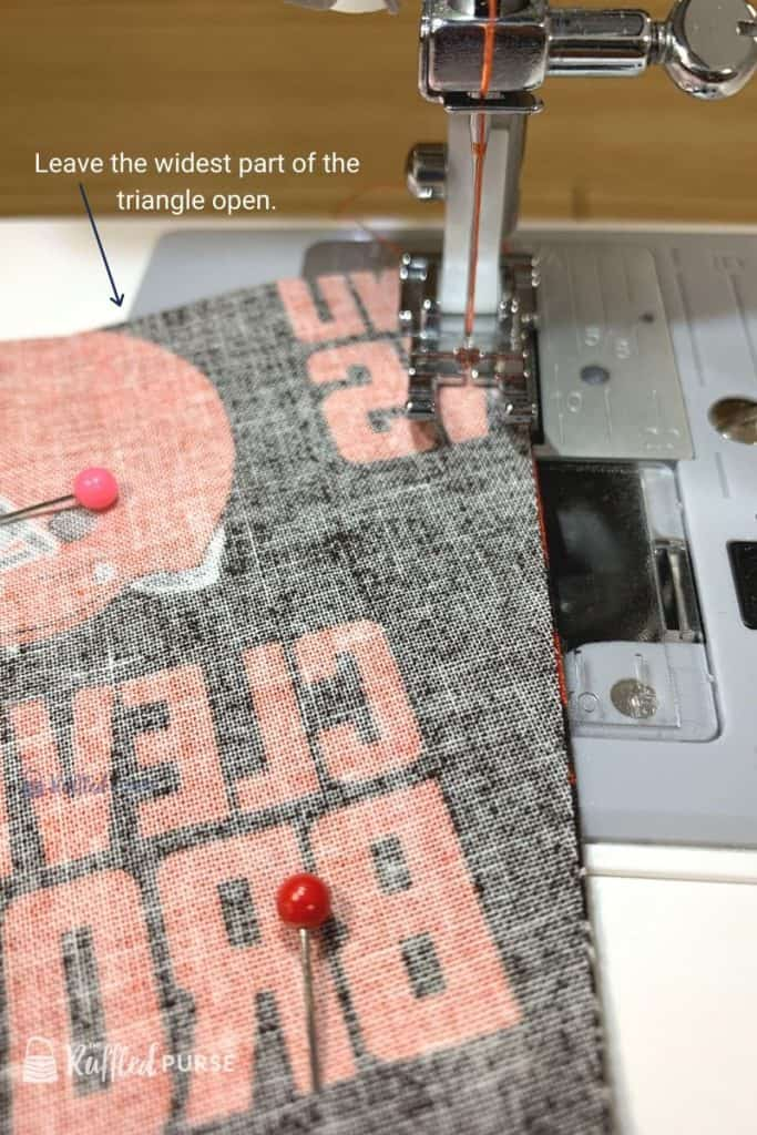 Start sewing with wide part of pennant flag at the top