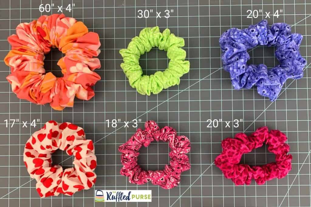 Different size scrunchies