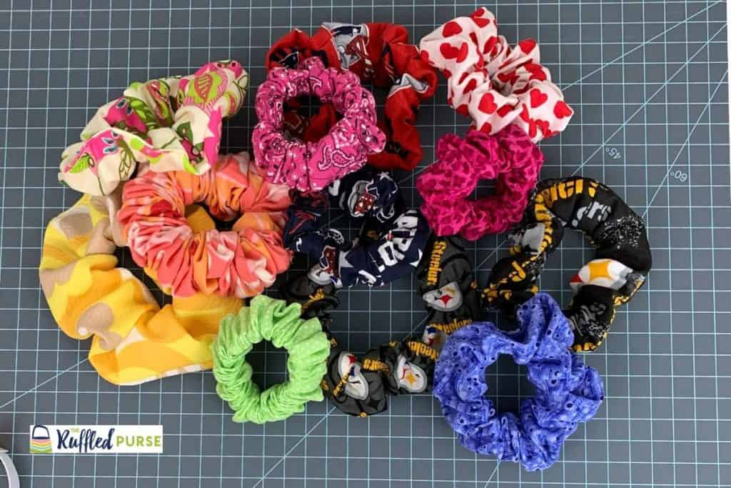 A pile of scrunchies