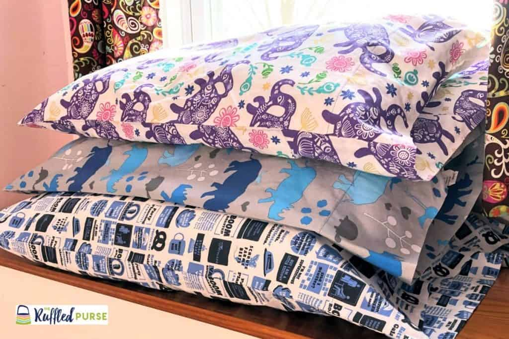 Pillowcases in a themed fabric are an easy to sew handmade gift.
