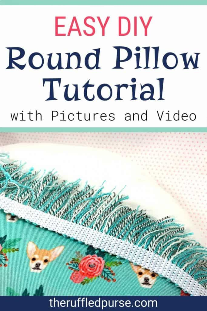 Pinterest pin for round pillow with fringe trim tutorial.