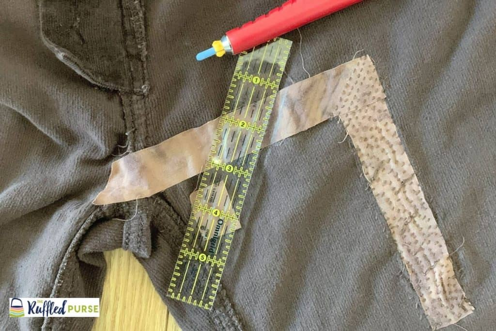 Mark the lines to follow when doing the running stitch