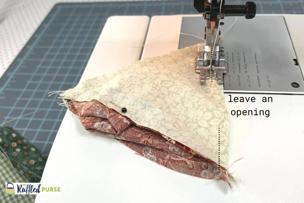 Leave an opening in the last seam.