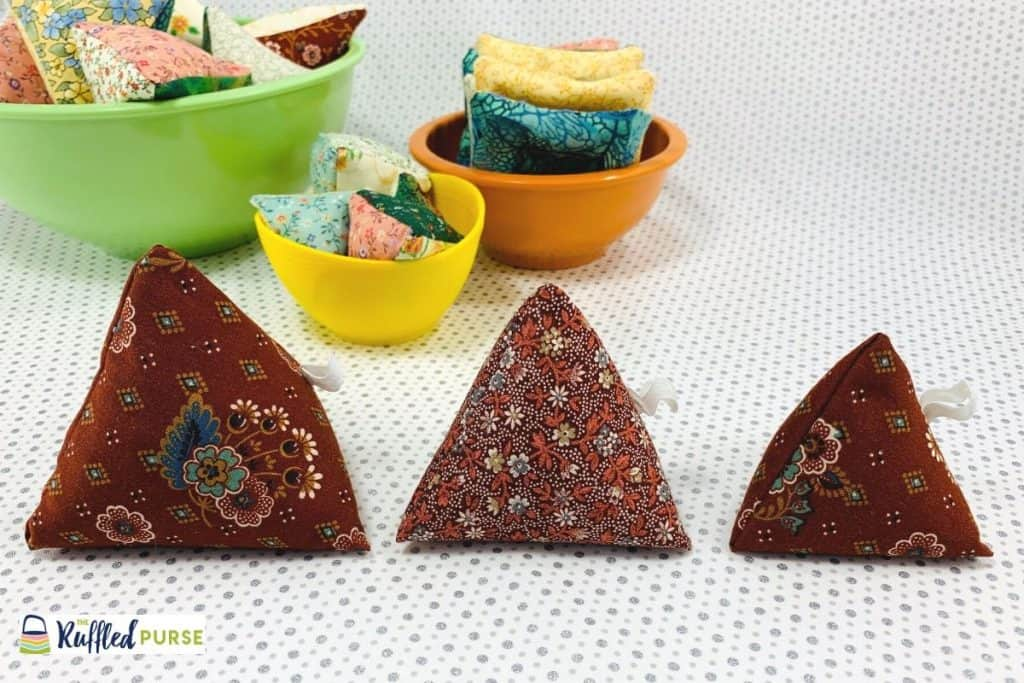 Triangular pyramid pattern weights made from a rectangle scrap