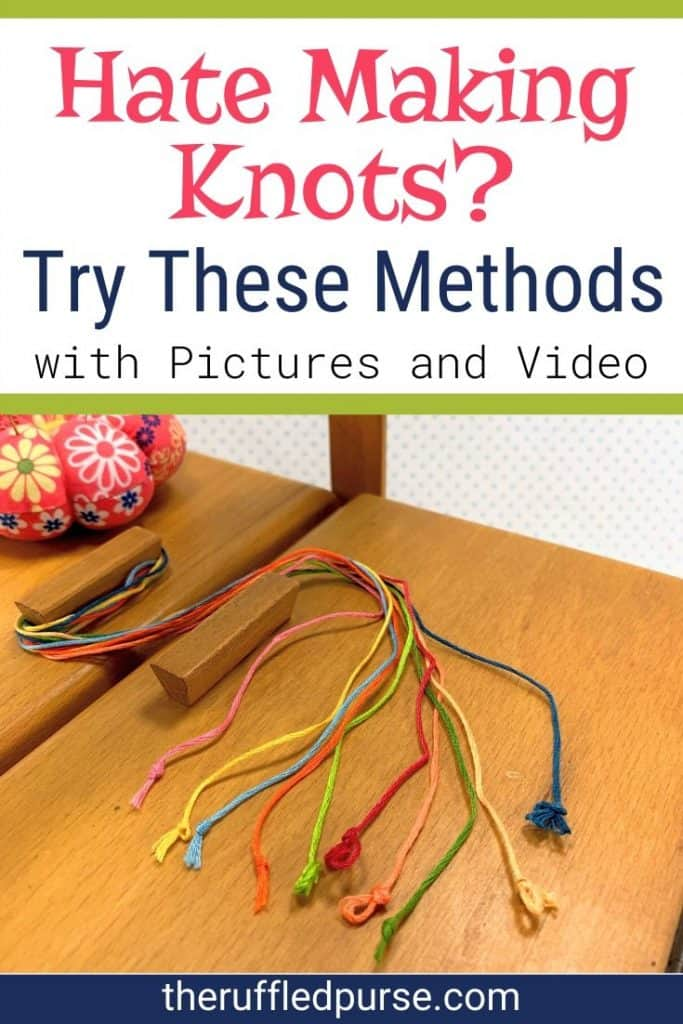 Tie knots in thread to hand sew