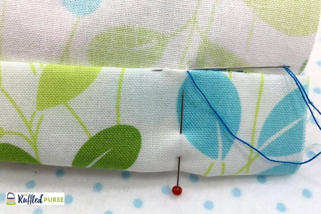 The blind stitch used to sew a hem in place.