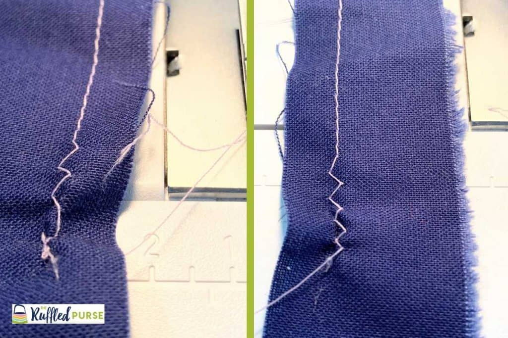 Front and back of a swatch showing messed up stitches