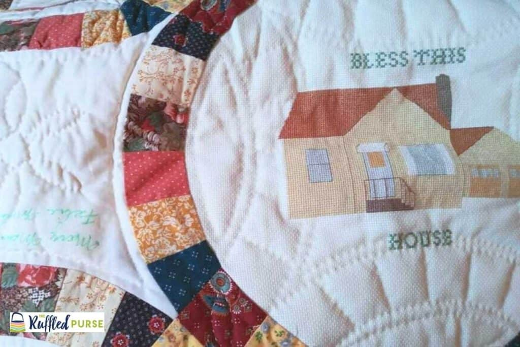 50th anniversary wedding quilt signed by party guests
