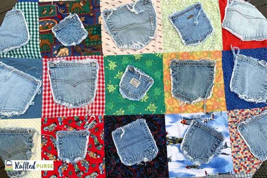 jean pocket throw blanket