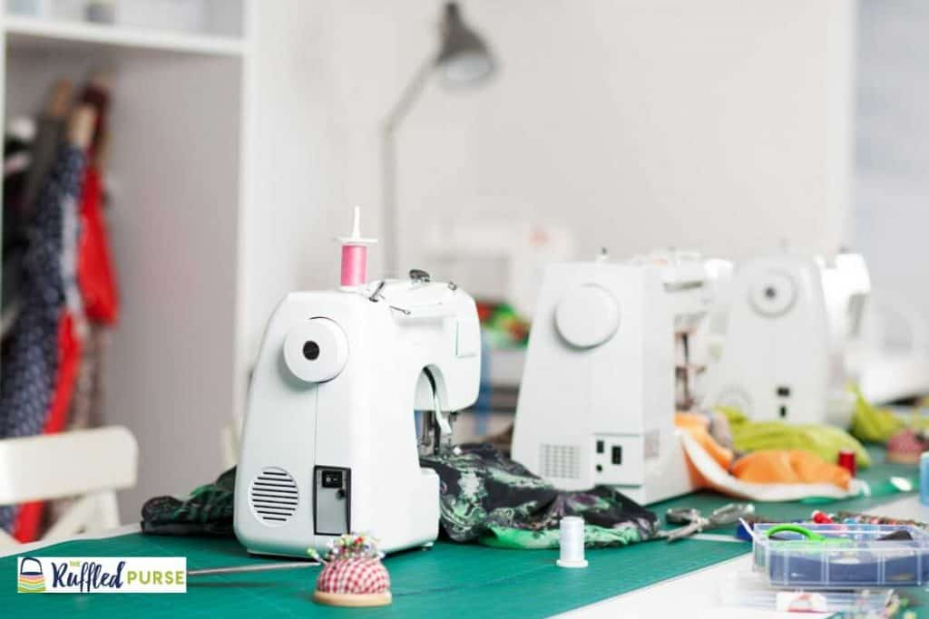 Sewing machines on a table