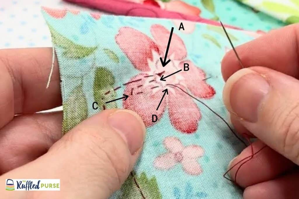Weave the thread through extra fabric