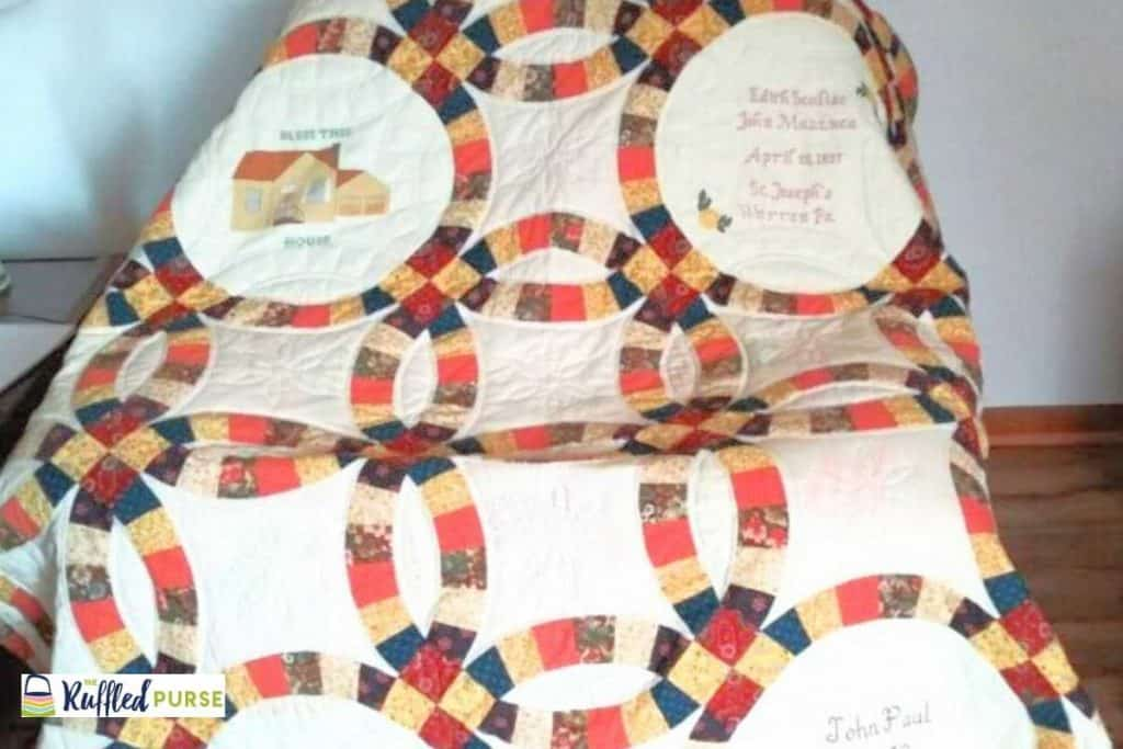 The wedding ring quilt made my my mom and aunt.