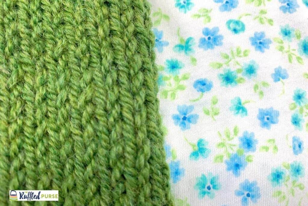 knit stitches with yarn on the left and knit jersey on the right