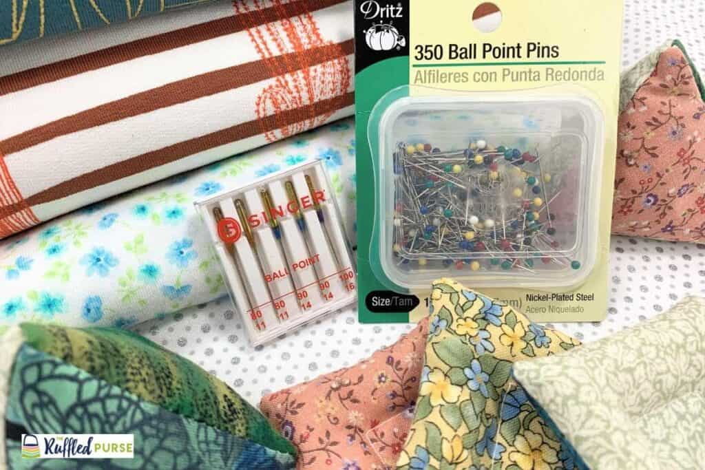 Sewing tools for knits - pins, needles, and pattern weights