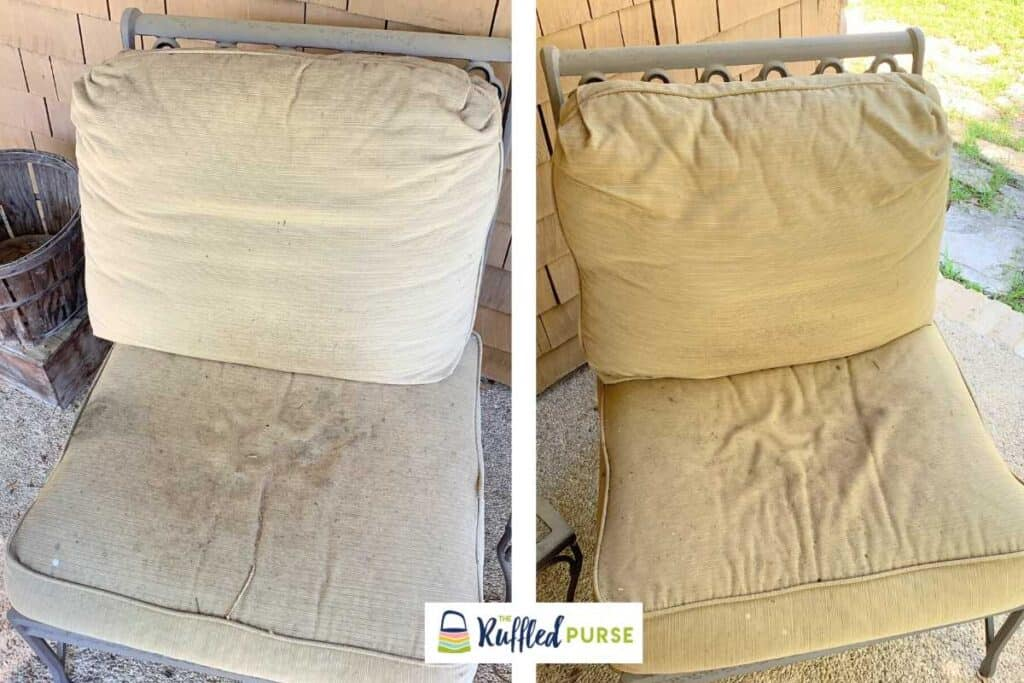 Filthy, faded, worn out cushions on outdoor chairs.