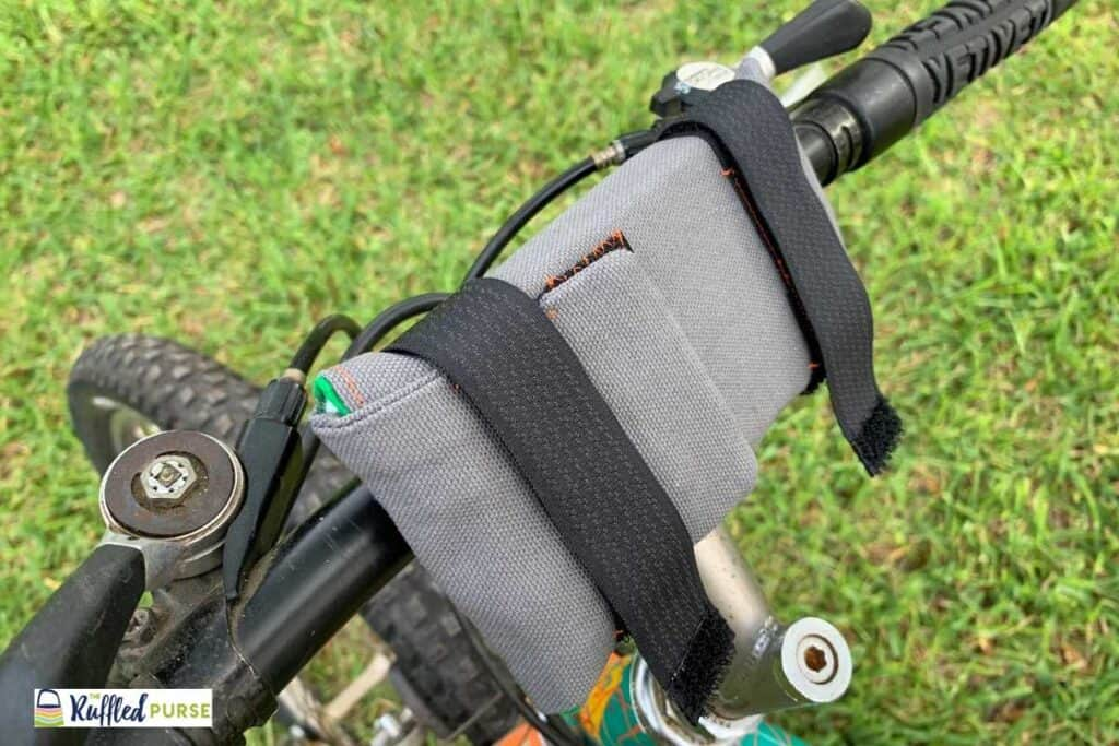 Cell phone holder on the handle bars.