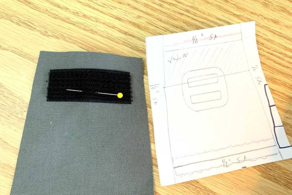 Pinned Velcro on flap next to template.