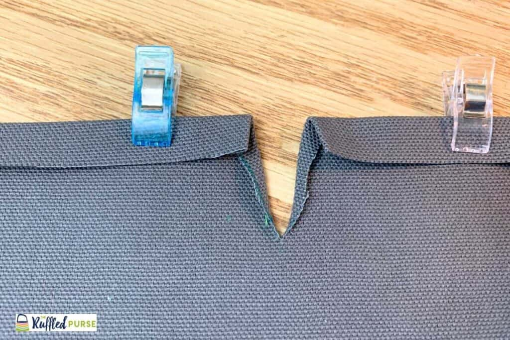 Press and turn top and slit edges.