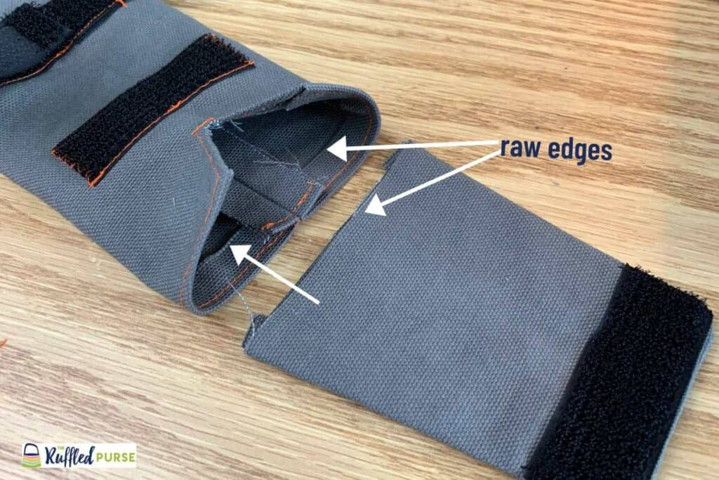 Line up the raw edges of the flap and inside of outer fabric.