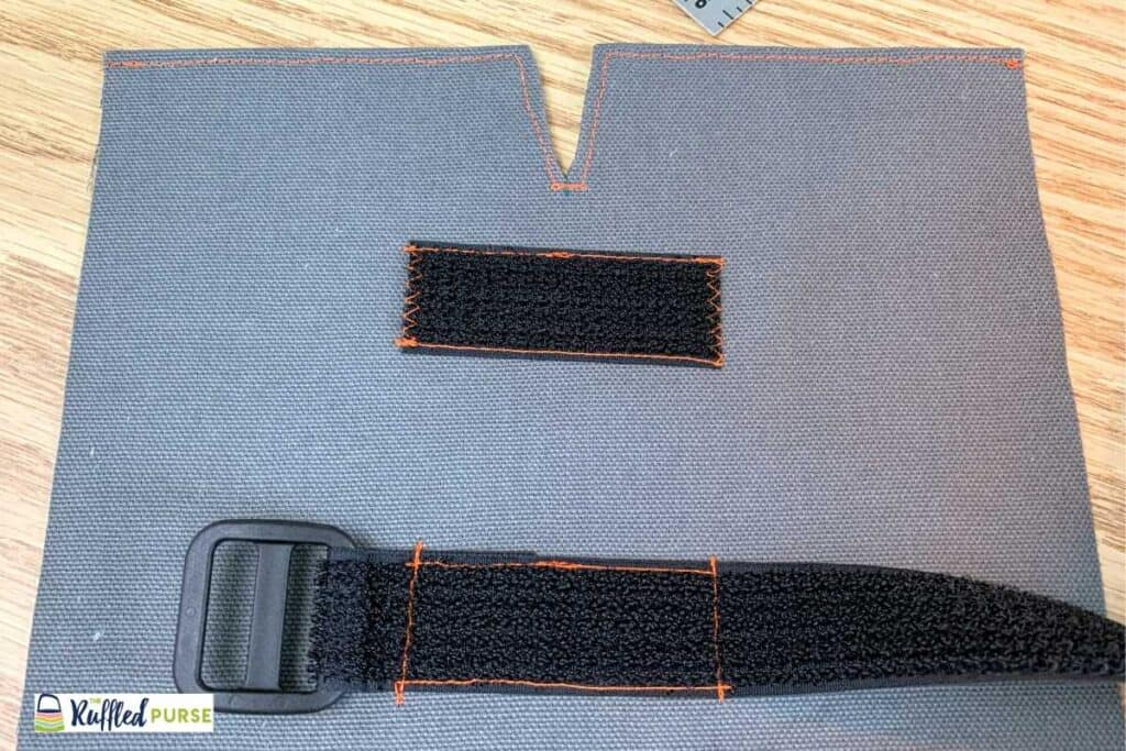 Outside fabric with Velcro pieces sewn on.