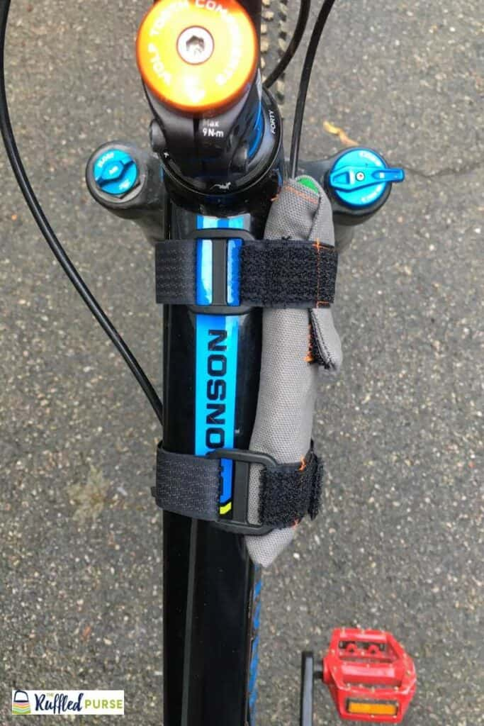View of the side of the bike cell phone holder when it's on a bike.