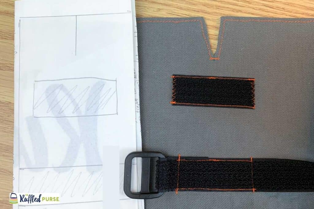 Template next to sewn on Velcro