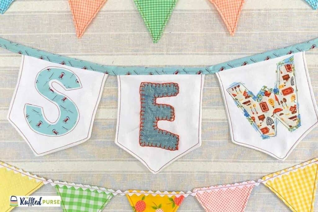 Bunting hanging on a bulletin board