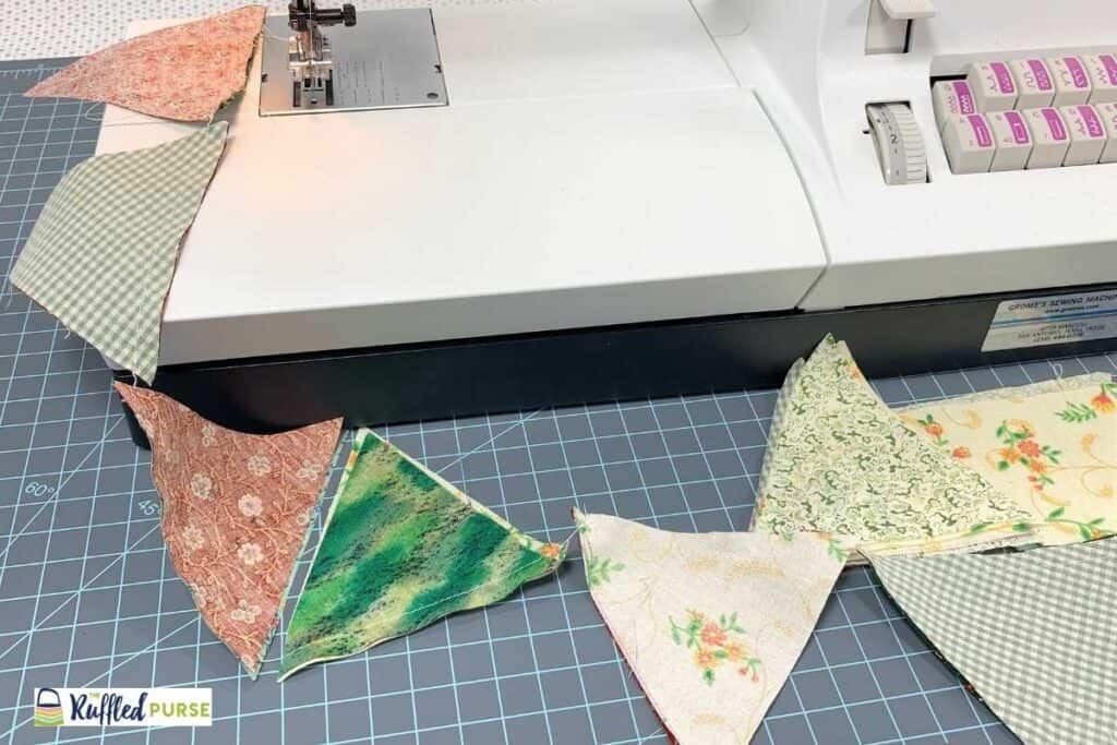 Chain sewing was used to sew these triangles sets together.