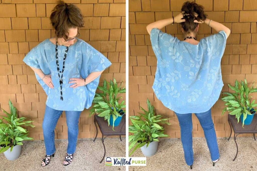 Front and back of floaty blouse