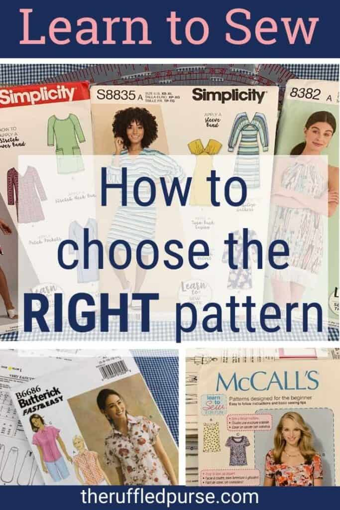 Pinterest image for selecting beginner sewing patterns