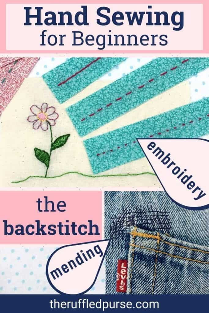 Pinterest image of both embroidery and mending with backstitch
