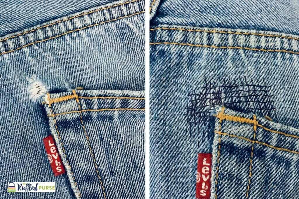 The backstitch was used to mend the hole in the corner of the pocket.