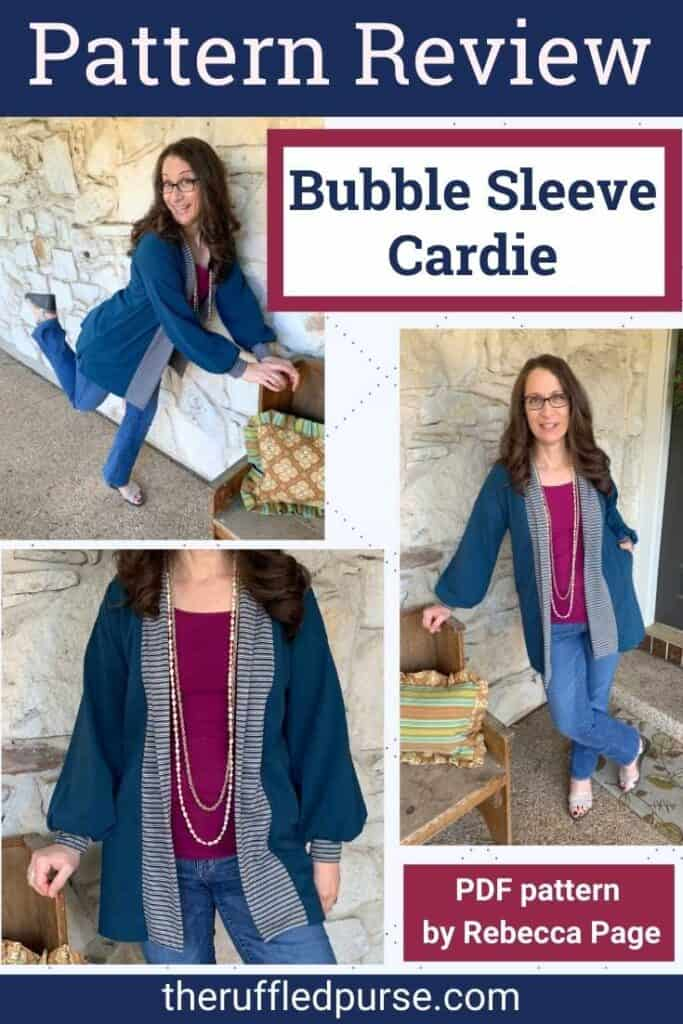 Pinterest image with three pictures of Bubble Sleeve Cardie